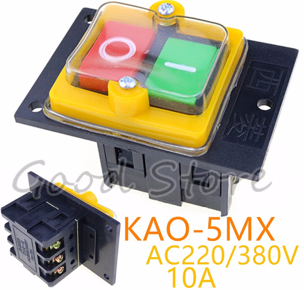 1PCS KAO 5MX 10A 380V for Cutting Machine Bench drill Switch Waterproof Push Button Switch Power On/ Off Switch KAO 5-in Switches from Lights & Lighting