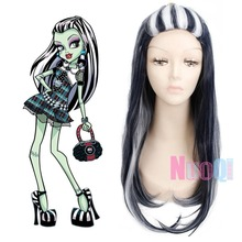 High Quality Monster High Frankie Wig 65cm 25.59 Long Straight Black and White Cosplay Wig for Women Synthetic Hair Anime Party цена