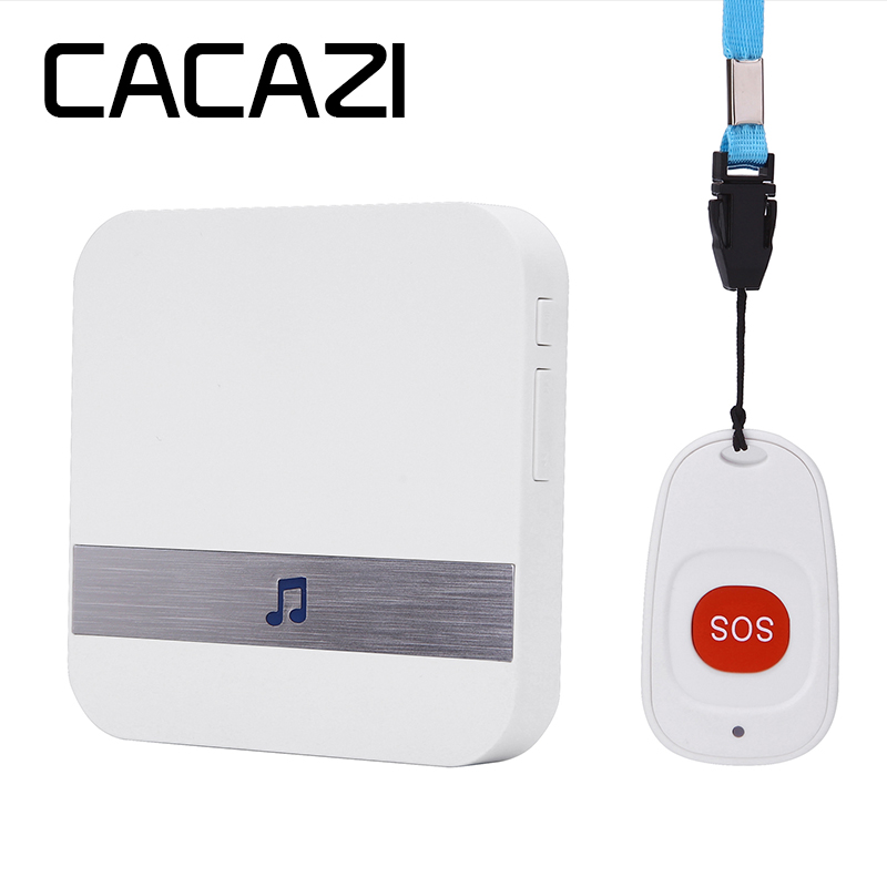 CACAZI C1 Wireless Medical Call Button System Pager Service Caregiver 1 Call Buttons 1 Receiver Medical Call Alert Safety Alarm singcall wireless calling system patient alarm system emergency sound and light alarm small caregiver receiver with two buttons