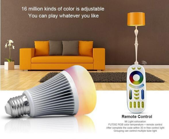NEW MiLight 2.4G Wireless E27 8W RGBWW + Color Temperature Dimmable 2 in 1 Smart WiFi LED Bulb AC85-265V