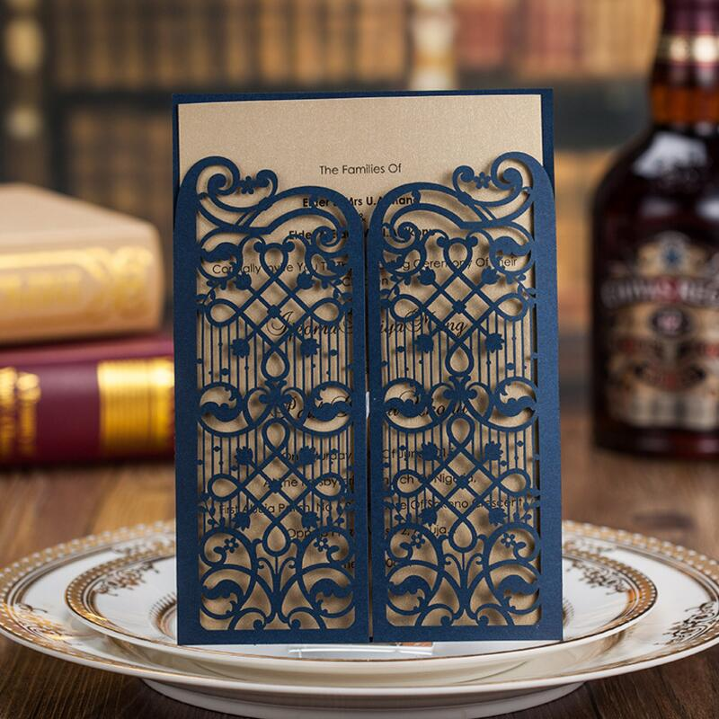 50pcs/pack Laser Cut Wedding Invitations Dark Blue Invitation Cards for Wedding Birthday Card Party Supply Free Printing laser cut white wedding invitations kit blank paper printing flower lace invitation cards set 50 20 12 100 lot free print
