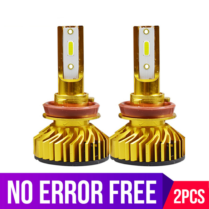 Gold Mini H1 H11 H8 HB3 HB4 <font><b>H4</b></font> H7 <font><b>LED</b></font> <font><b>Canbus</b></font> Decoder Auto Automobile Car Headlight Bulbs EMC No Error 72W 10000LM 6000K 12V image