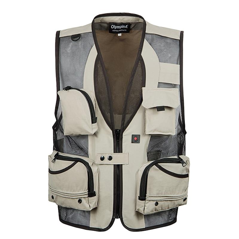 Men Mesh Baggy Sleeveless Vest With Many Pockets Spring Autumn Male Casual Black Shooting Jacket Mens Multi Pocket Waistcoat