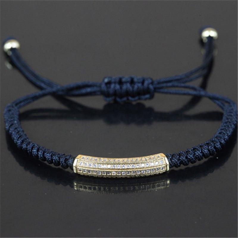Charms Statement Anil Arjandas Bracelet with Gold/Silver/Rose gold Pave CZ Spacer Braiding Macrame Men Bracelet A-0073