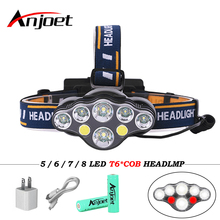 Anjoet 8 Modes COB LED Headlamp 5/6/7/8 LED XML-T6 Headlight usb lamp for Camping Flash torch+2*18650 battery+usb cable+charger panyue 2 packs xml t6 cob led mini pocket flashlight work light penlight torch lamp high 1000lumens 6 modes camping lanterna