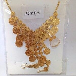Image 4 - Anniyo Arabian เหรียญชุดเครื่องประดับ GOLD สีกลาง East สร้อยคอสร้อยข้อมือแหวนอิสลาม VINTAGE เหรียญชุดงานแต่งงาน #050060