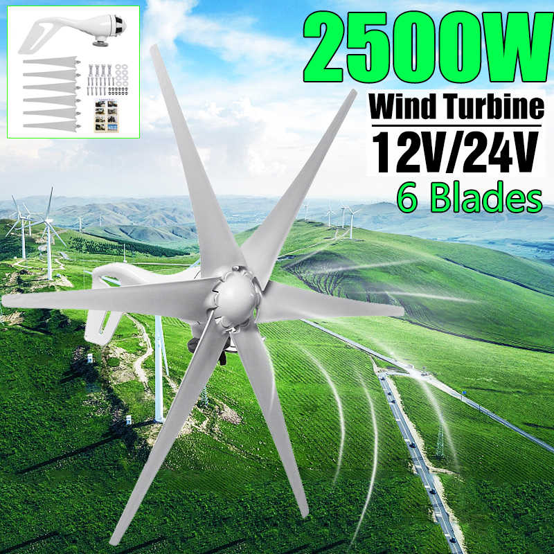 2500W 12V/24 V 6 Blade Wind Turbines+Controller Wind Generator Power Windmill Energy Turbines Charge Home Or Camping