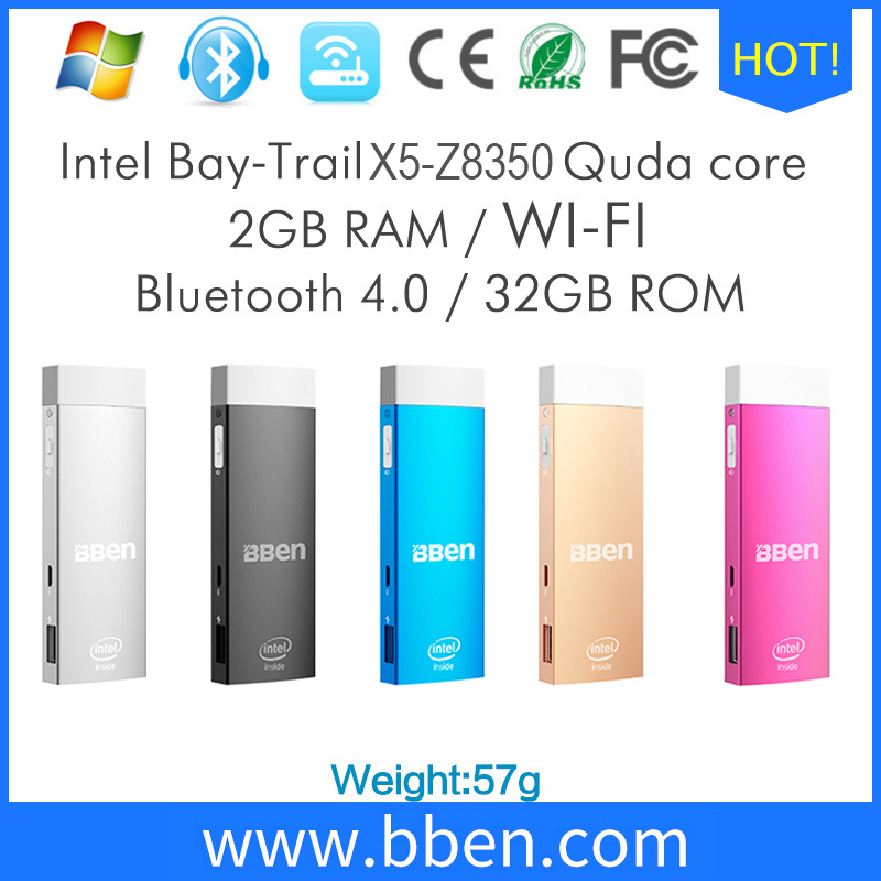 Bben mini pc palillo de windows 10 y android 5.1 os dual intel Z8350 CPU DUAL OS