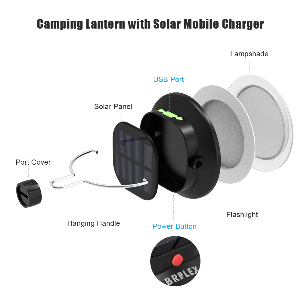 Brilex Solar Light Bulb Garden Outdoor Solar LED Light USB Chargeable 3 Lighting Modes Protable Hiking Tent Garden Party Light