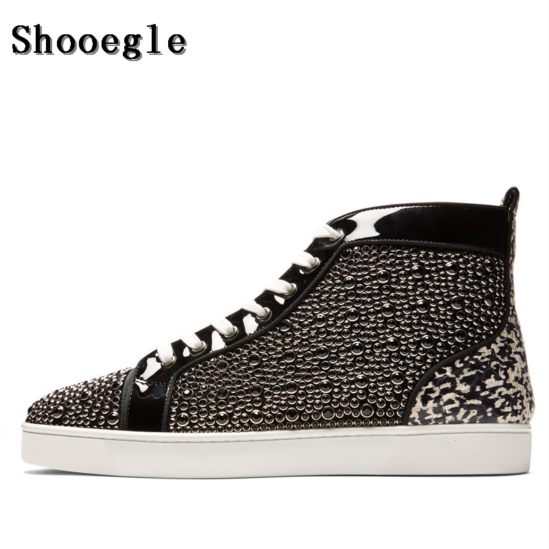 SHOOEGLE Fashion Men Patchwork Rhinestone Sneakers Lace-up Flat High-Top Men Camping Driving Casual Shoes Man Size EU38-47 qianruiti men mixed color spike shoes fish scale patchwork multicolor rhinestone sneaker lace up flat high top men camping shoes