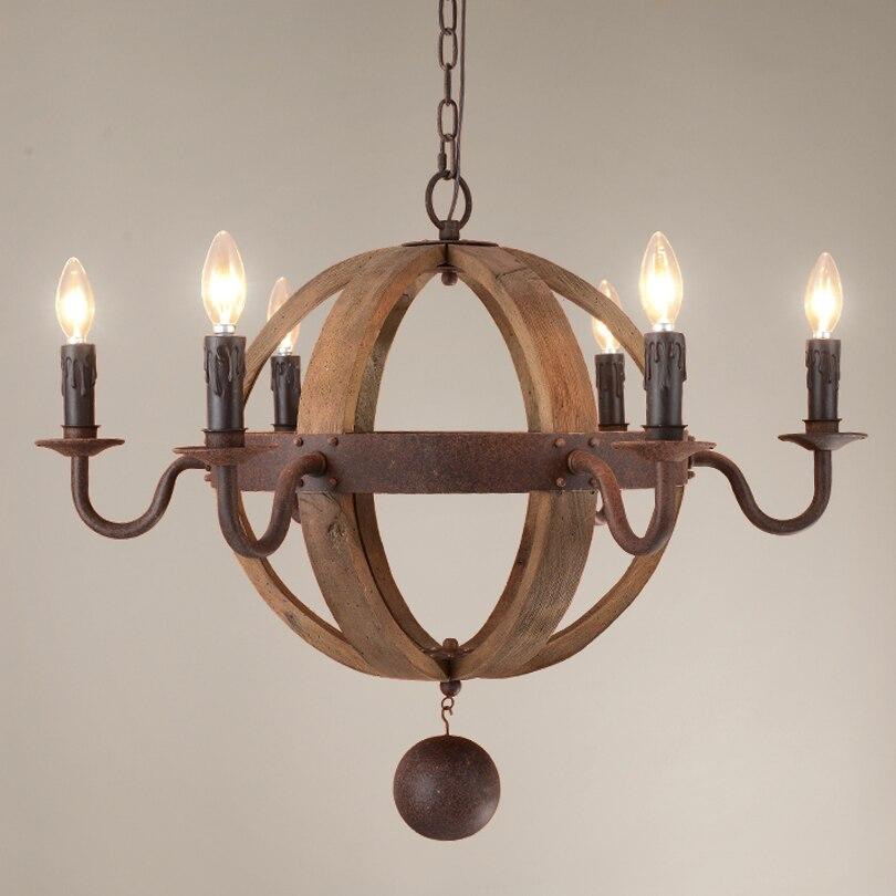 US $1393.69 30% OFF|Amerikanischen Wohnzimmer Pendelleuchten Holz  sphärische Beleuchtung Lampen Whisky beerbarrel Holz Ball Form hängende  Lampe ...