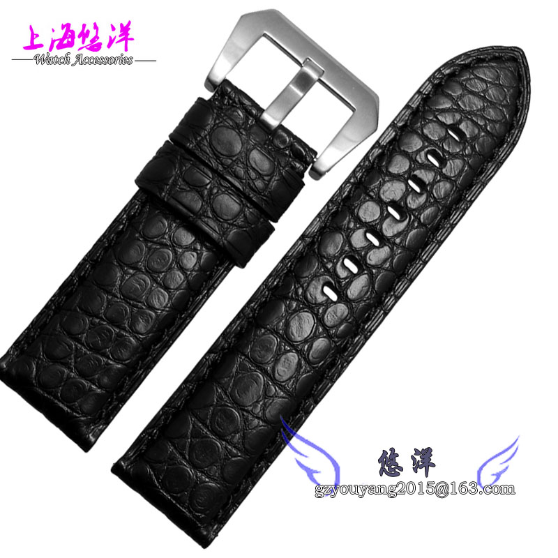 Leather watch straps alligator Bracelet male adapter PAM111 22 24 26mm black