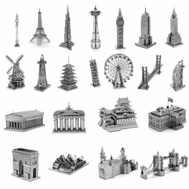 Building 3D Metal Puzzle Model Neuschwanstein Tower Bridge Windmill House Metal Earth DIY Jigsaw Puzzle Toy Gifts For Adult/Kids series s 3d puzzle paper diy papercraft double decker bus eiffel tower titanic tower bridge empire state building
