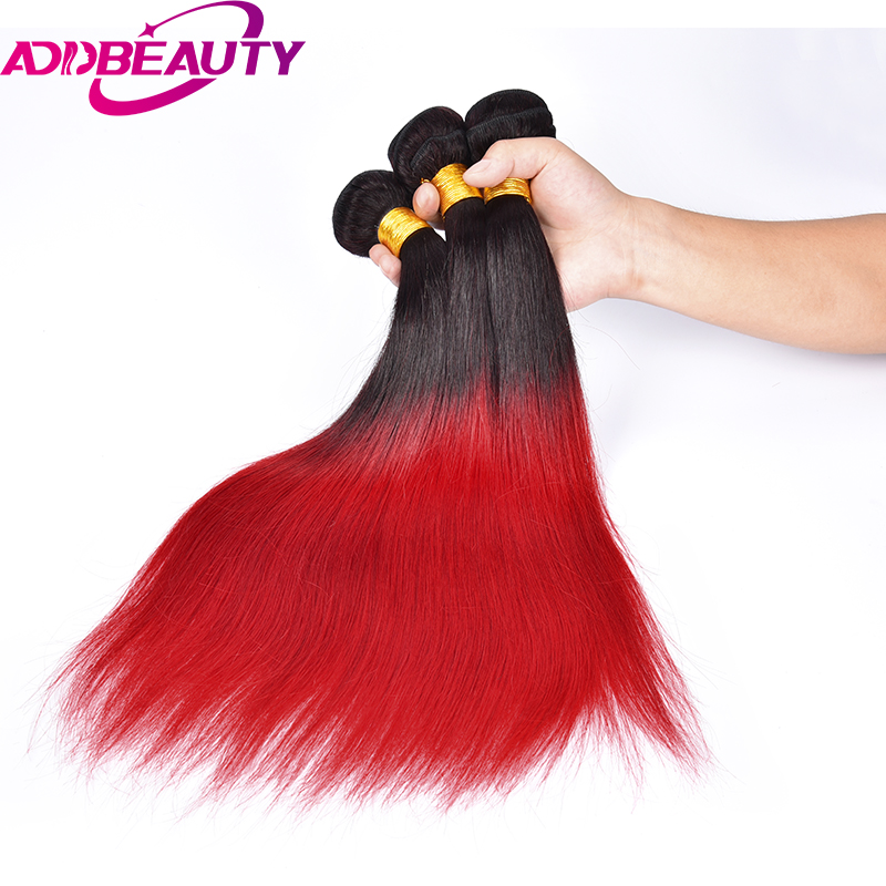 AddBeauty Ali Queen New Brand Brazilia Straight Remy Hair Ombre Red Human Hair Weave Hair Bundle