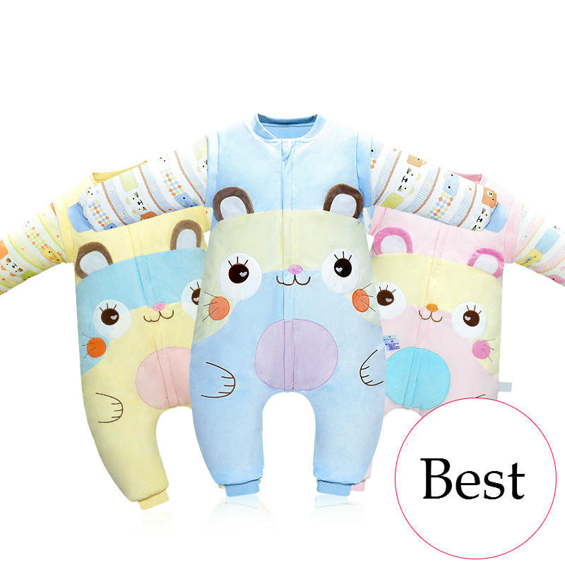Lovely Cartoon Pure Cotton Children Baby Sleeping Bag Thicken Autumn Winter Warm Sleep Sack Soft Split Sleeves Sleepsack ...