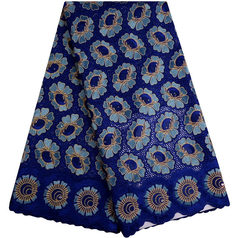 Blue Color African Swiss Voile Lace High Quality New Arrivals 2018 African Swiss Lace Fabric With