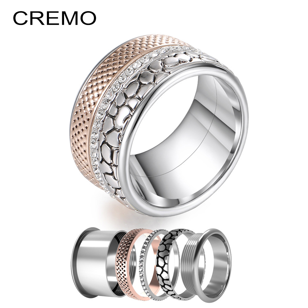 Cremo 12mm Width Band Rings Statement Bijoux Wedding Stainless Steel Interchangeable Arctic Symphony Layers Ring