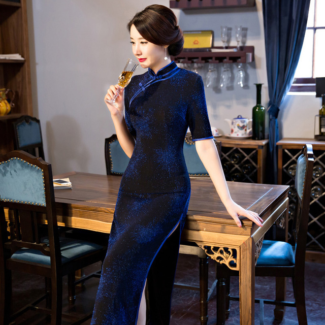 TIC-TEC women cheongsam long qipao chinese traditional dress blue oriental dresses velet vintage evening elegant clothes P3126