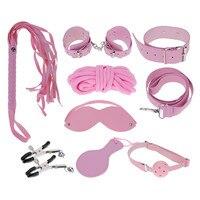 8 Unids/set Esposas De Cuero Clips Whip Máscara Juguetes para el Partido del Día de San Valentín Del Amante de los pares