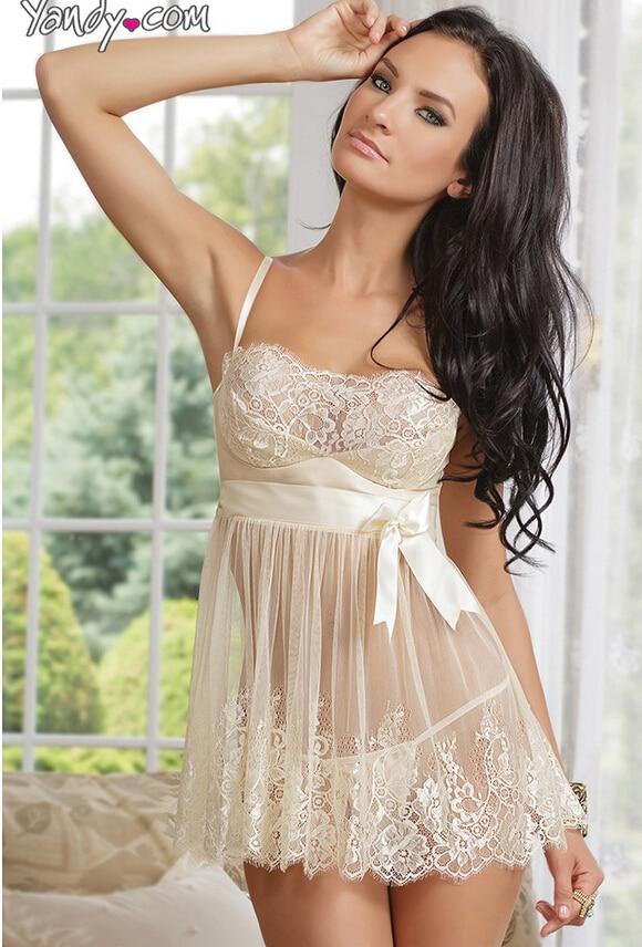 Плюс розмір Нові популярні жіночі спальні інтимні сексуальні ковзання Плаття мереживний спальний одяг з сорочками бант Up