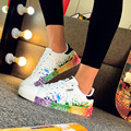2017 Calzados informales Unisex de Moda Blanco Casual de las señoras Zapatos Baratos señoras de la Marca Entrenadores Pisos Zapatos de San Valentín Cesta Femmel