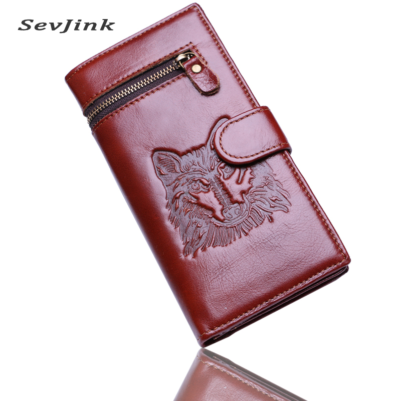 Wolf Head Men Wallets Genuine Leather Wallet Fashion Design Brand Wallet Leather Man card holder purse tauren trifold wallets men wallet 100% design men fashion purse card holder wallet man genuine leather with zipper coin pockets