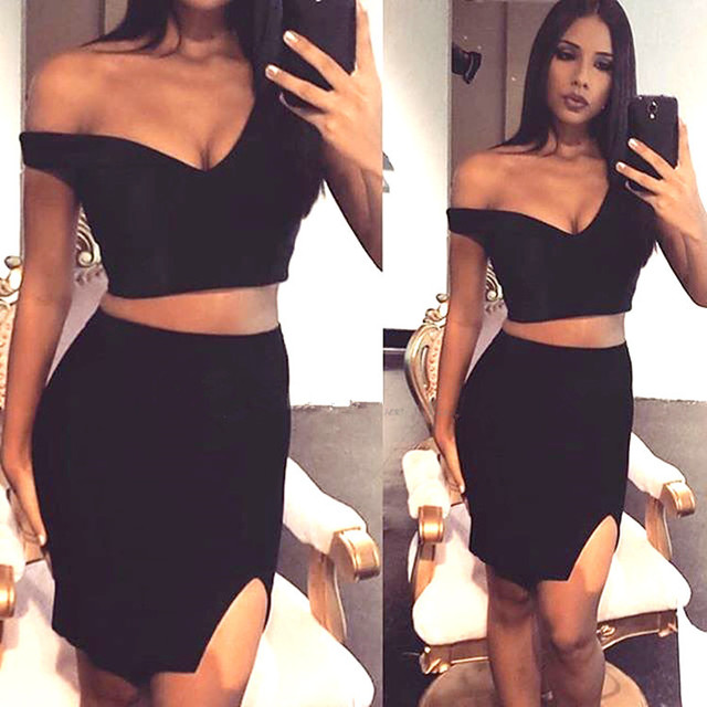 cee565cd807d White and Black Color Ladies Sexy 2 Pieces Mini Dress HL Fashion Bandage  Dress Club Night Dress Wholesale