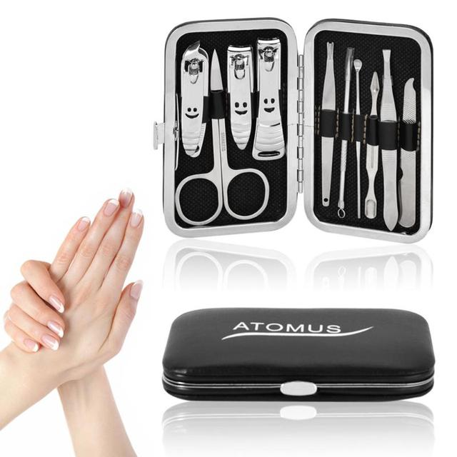 58b55fe441be US $3.98 5% OFF|10pcs Nail Art Manicure Tools Set Nails Clipper Scissors  Tweezer Knife Manicure Sets Stone Pattern Case For Nail Manicure-in Sets &  ...