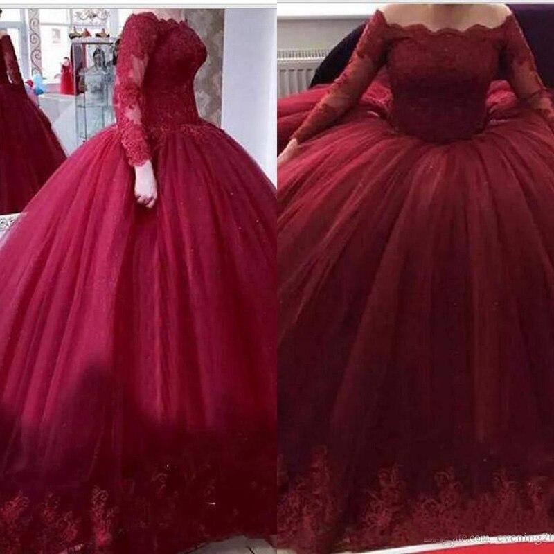 13032 30 De Descuentovestido Rojo Oscuro Para Quinceañera Vestidos De Manga Larga Con Apliques De Encaje Para Ocasiones Especiales Vestidos