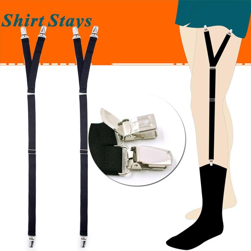 New Shirt Garters Man's Shirt Stays Holder Leg Suspenders Shirt Braces Duckbill Clip Shirt Garters 1pair GW0823