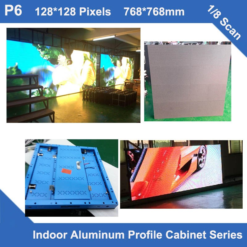 TEEHO 6pcs/lot Indoor P6 Video Screen Non Waterproof Aluminum Profile Cabinet 768mm*768mm Fixed Rental 1/8 Scan Panel Led