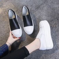 Women's Flats 2019 Spring Autumn Genuine Leather Shoes Woman Slip On Shoes Casual Thick Sole White/Black Platform Sneakers