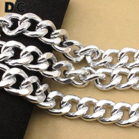 DC 1Meter Lot Silver Color Aluminum Chunky Big Link Chain 22 5 28 6mm Jewelry Findings
