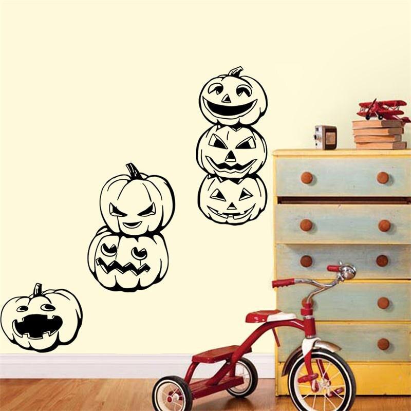 home decor halloween pumpkins wall stickers diy creative party decoration halloween kids gift sticker shop store