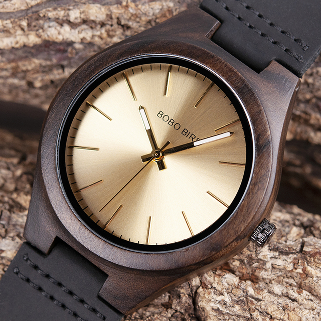 relogio masculino BOBO BIRD Ebony Wood Watch Men Wooden Wrist Watches Timepieces erkek kol saati Mens Gift Accept Drop Shipping
