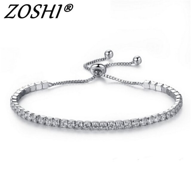Cubic Zirconia Charm Bracelets & Bangles For Women Fashion Adjustable Bracelet Female Wedding Silver Plated Jewelry Wholesale