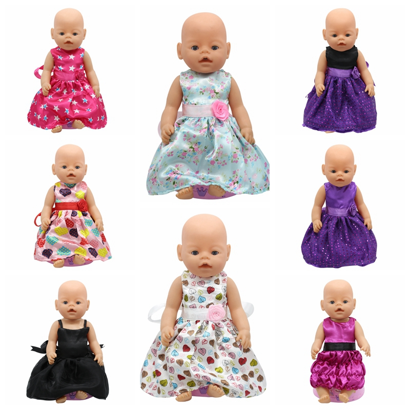 Baby Born Doll Accessories 15 Styles Princess Dress Doll Clothes Fit 43cm Baby Born Zapf Doll Clothes Birthday Gift D4 baby born doll clothes bat patch skirt dress fit 43cm baby born zapf or 17inch baby born doll accessories high quality love 183