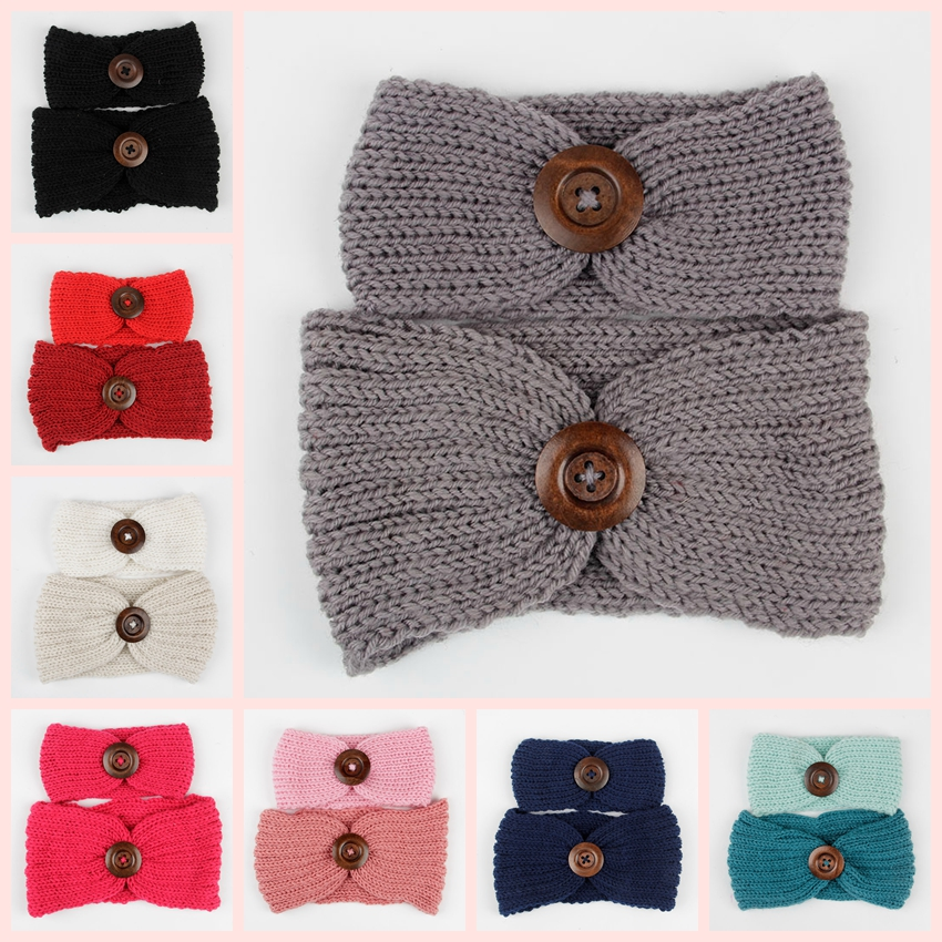2pcs / set New Mom e Baby Knit Fascia Set Donne Orecchie all'uncinetto Warm Headwraps Turbante Bambini Headwear Accessori per capelli