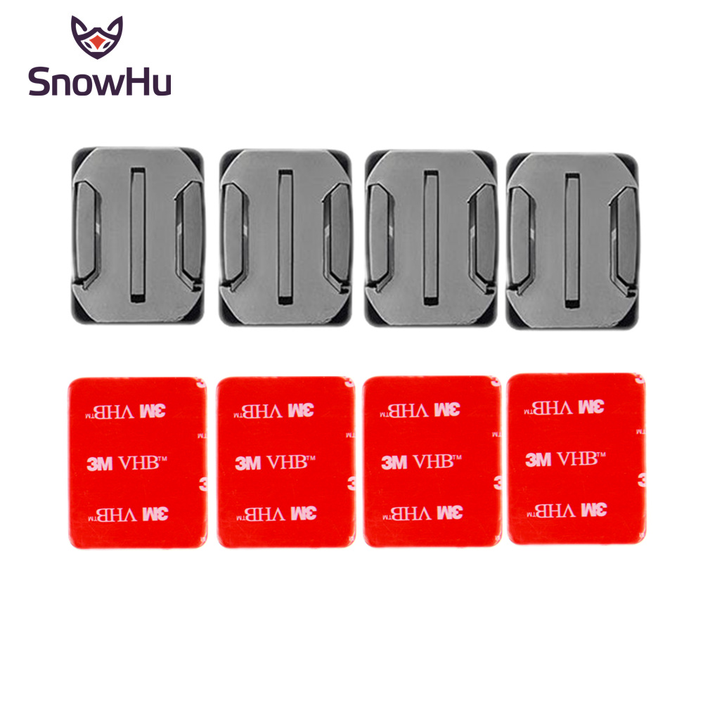 SnowHu for gopro accessories Curved Surface Base 4 x Curved mount 3M VHB Adhesive Sticky for Go Pro Hero 7 6 5 4 xiaomi yi GP11 in Sports Camcorder Cases from Consumer Electronics