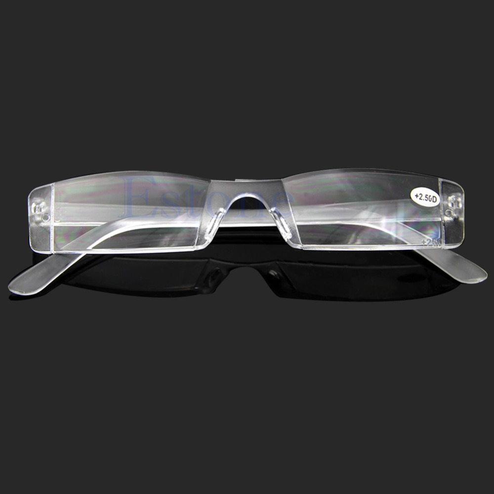 Eyeglasses Clear Rimless Reading Glasses Case Bag Presbyopia 2.50 Diopter