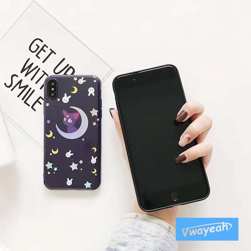 For iPhone x 10 6 7 plus Ins hot Laser Blue Light Cartoon Cat Plating Colorful Gradient Lovely Rabbit Star Moon Mirror Soft Case