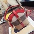 Mujeres Bucket Bag Lock Diseño de Lona A Cuadros Pequeños Bolsos de Hombro de Las Señoras Bolsa de Mensajero 2017 Nueva Moda Mujer Bolsos Sac Femme