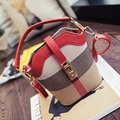 Women Bucket Bag Lock Design Canvas Plaid Small Handbags Ladies Shoulder Messenger Bag 2017 New Fashion Woman Purses Sac Femme