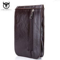 BULL CAPTAIN genuine leather waist packs fanny pack men cigarette purse male military waist belt bag casual mobile phone bags