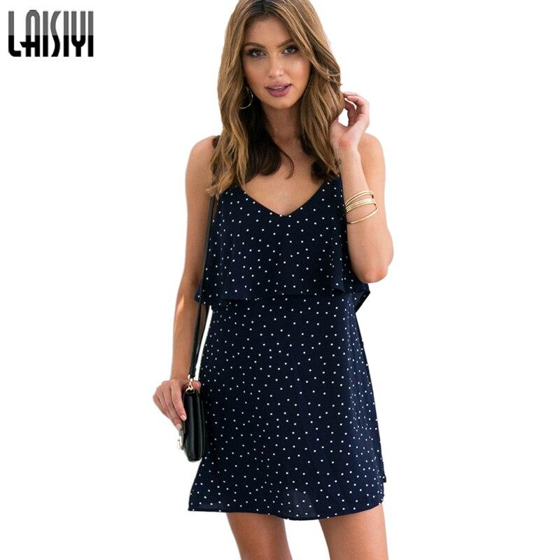 LAISIYI suvel polka täpid lühike kleit seksikas v-kaelusega varrukateta tagumata mini rannakleitidega trükitud pluss suurus ASDR20122