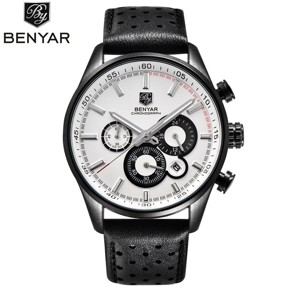 cb010f74aa9 BENYAR Novo Top Marca de Luxo Mens Relógios De Couro Casual Homens ...