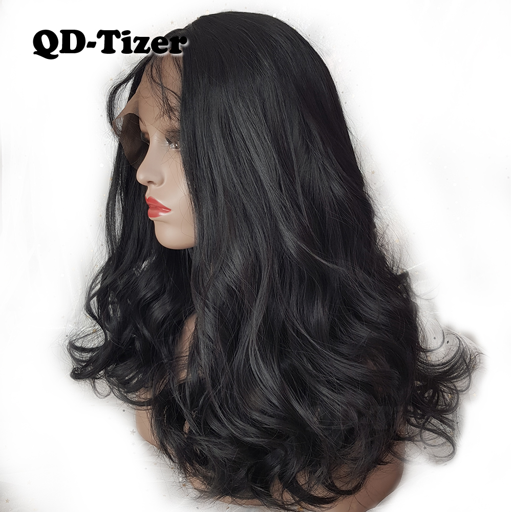 QD-Tizer Short Wavy Lace Front Wigs Glueless Wave Hair Wig Natural - Syntetiskt hår - Foto 1