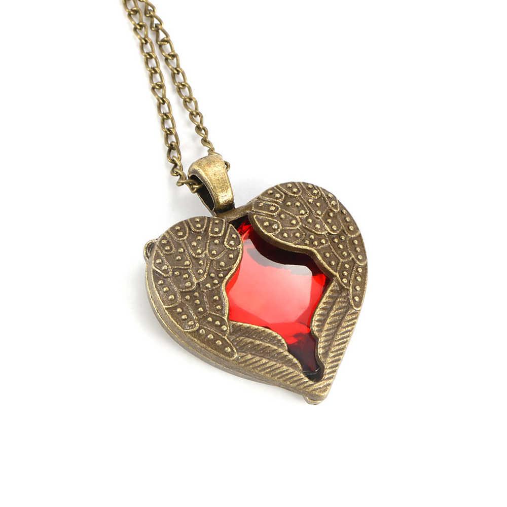 Long aile rouge coeur Vintage nouveau cristal ange accessoires bijoux gemme colliers chaîne de mode chaîne pendentif Long pour femme cadeaux
