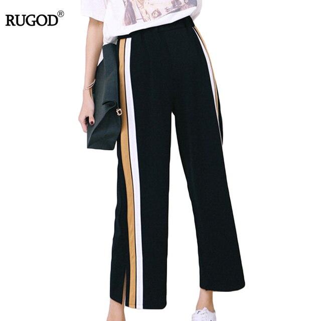 Rugod 2018 primavera caliente y verano alta cintura Pantalones anchos  harema mujeres sueltas moda con líneas 0a510fb6ac1e