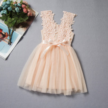 Girls Summer Pink Flower Dresses  Childrens Clothing Korean White Lace Dress Mesh Vest Princess Birthday Gowns